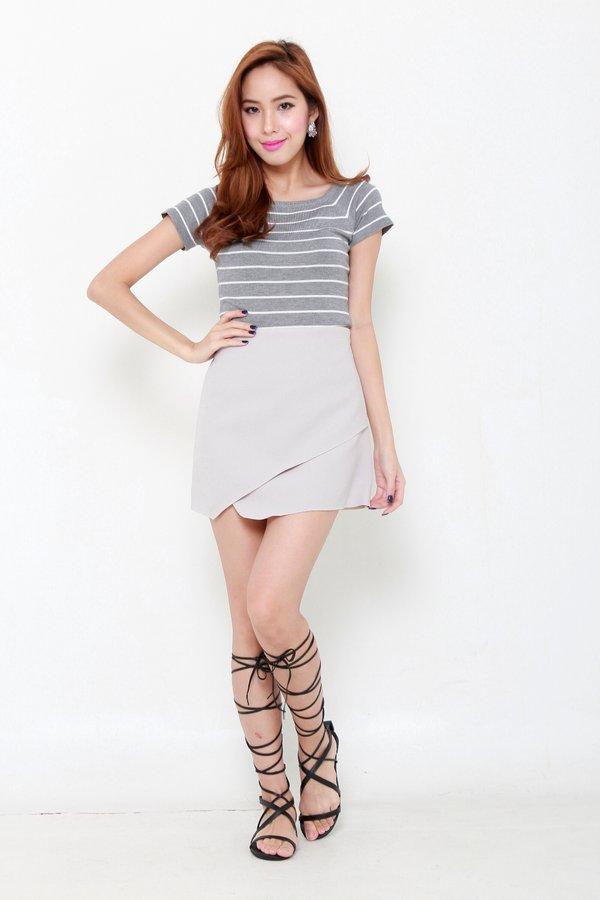 *RESTOCKED* Dare to Stripe Knit Tee Grey