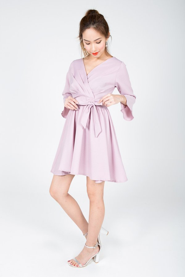 Pleated Gathering Dress Rose Pink