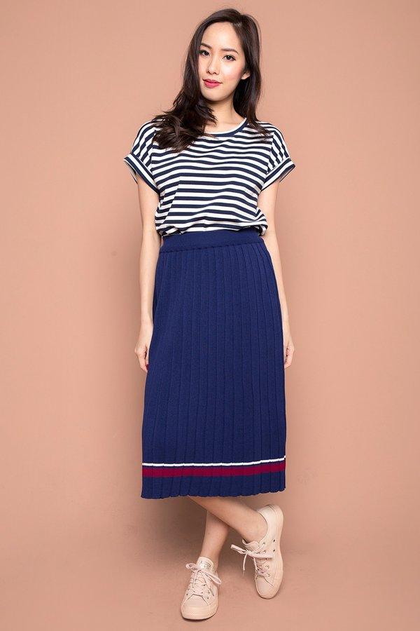 Placid Pleats Knit Midi Skirt Navy Blue