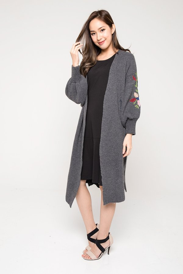*RESTOCKED* Optimal Lengths Embroidery Knit Shrug Grey