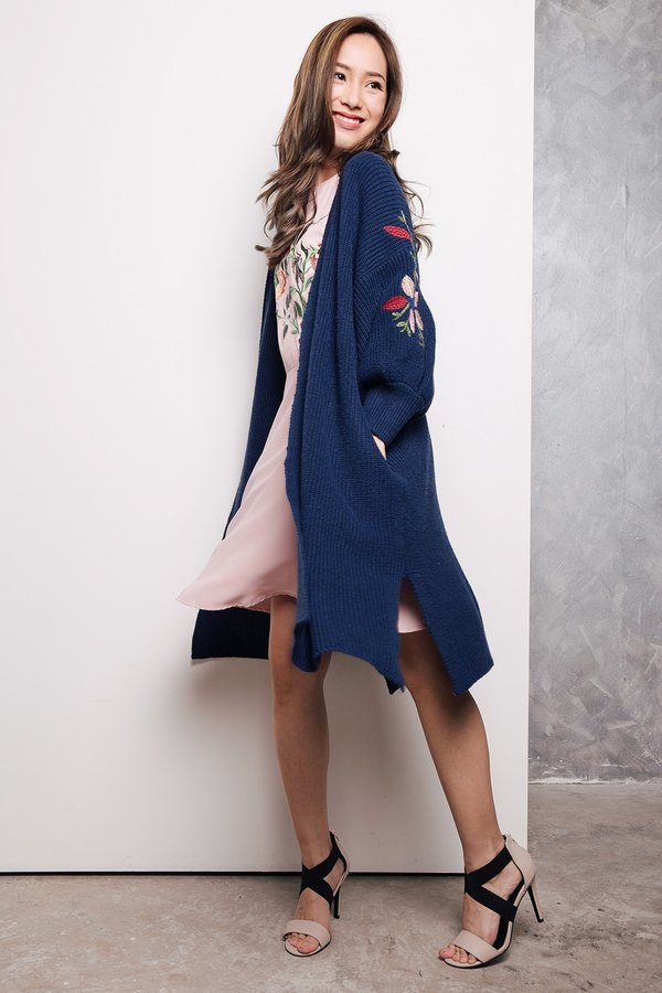 Optimal Lengths Embroidery Knit Shrug Navy Blue