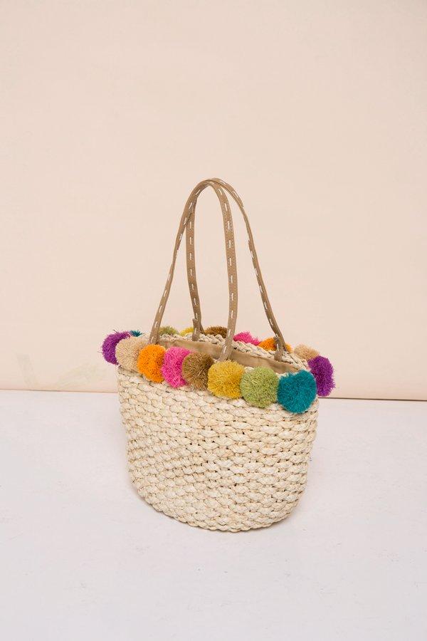 Colourful Pompoms Straw Bag