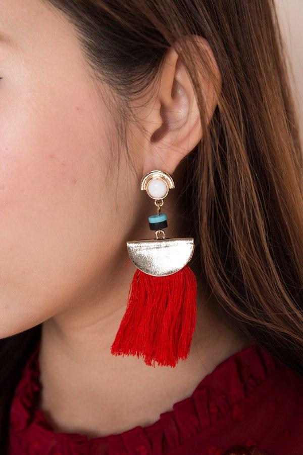 Fanning Flames Tassel Earrings Red