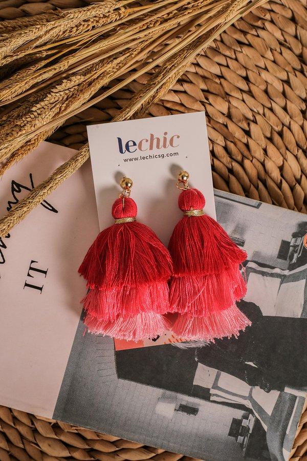 *RESTOCKED* Studded Spectacle Tassel Earrings Ruby Rose
