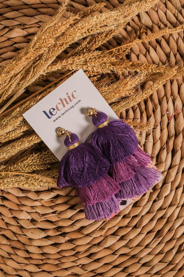 Studded Spectacle Tassel Earrings Sangria