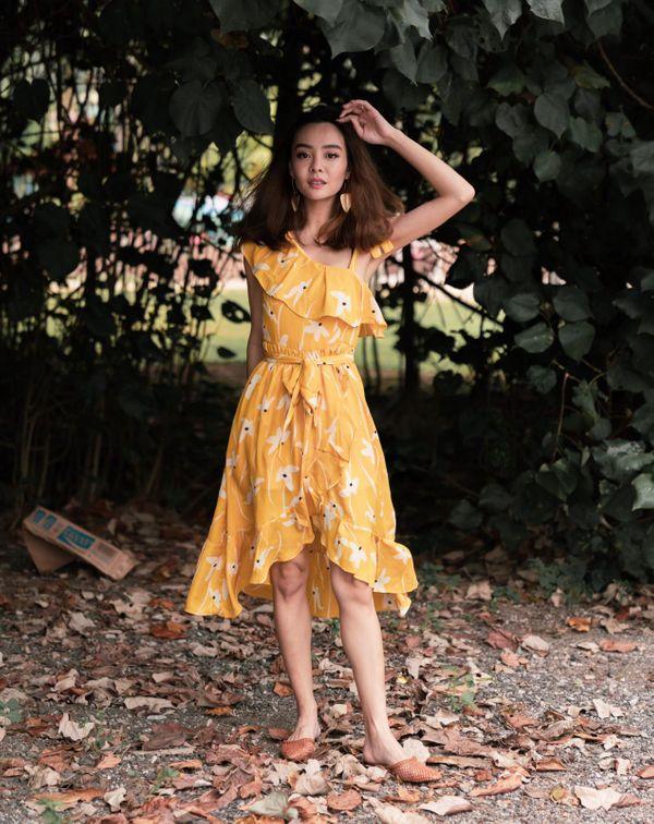 Thy Florals Come Midi Dress Marigold Paddy Fields