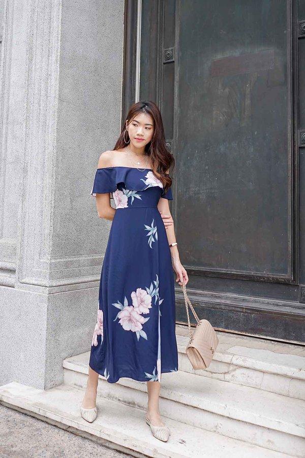 Freestyle Florals Offshoulder Maxi Dress Navy Blue