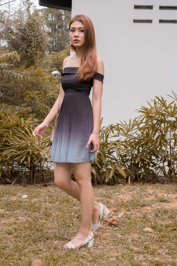 Ombre Oomph Pleated Dress Smoke