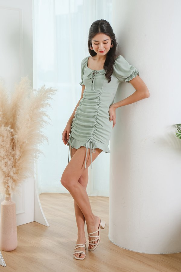 Curtain Call Ruched Drape Laceup Dress
