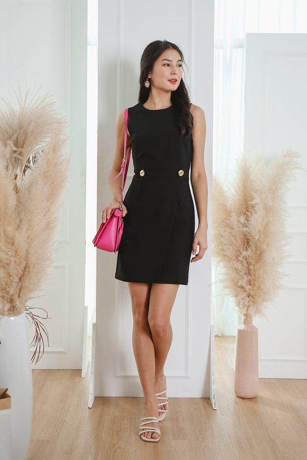 Solid Studded Black Work Dress