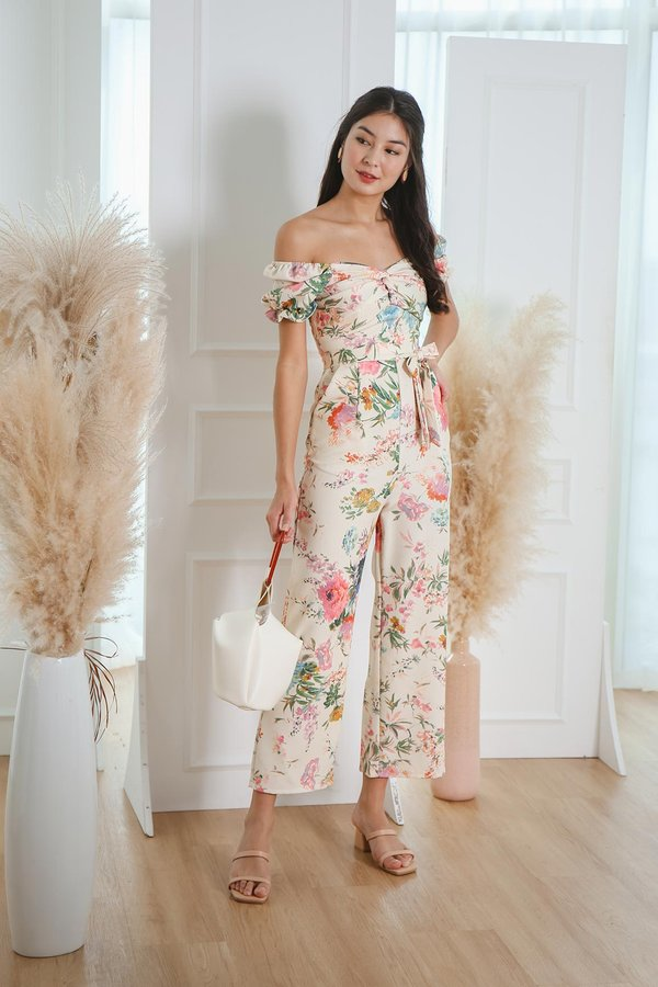 Now and Fleur Ever Twist Knot Jumpsuit Cream