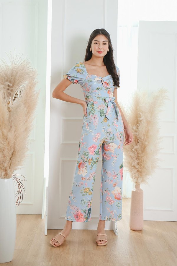 Now and Fleur Ever Twist Knot Jumpsuit Sky Blue