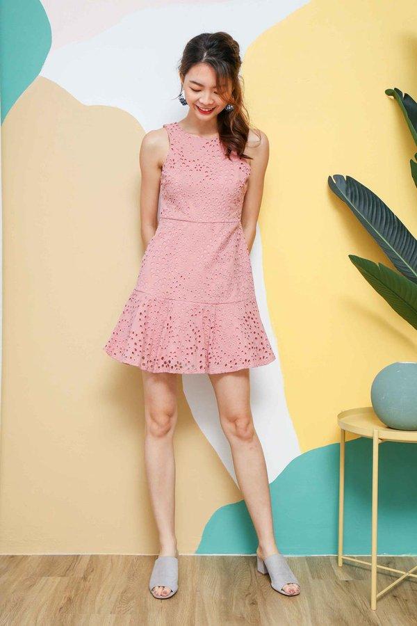 Eyelets Overload Dropwaist Dress Pink