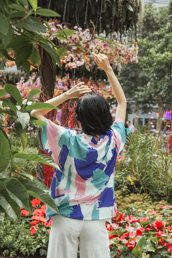 Coastal Colours Abstract Kimono Jacket Azure