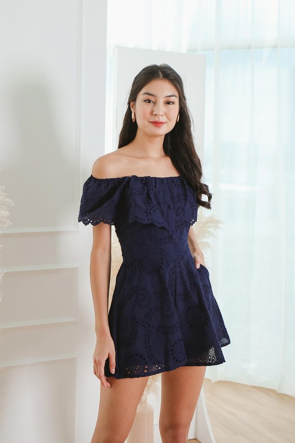 Nature Overlays Eyelet Pocket Romper Navy Blue