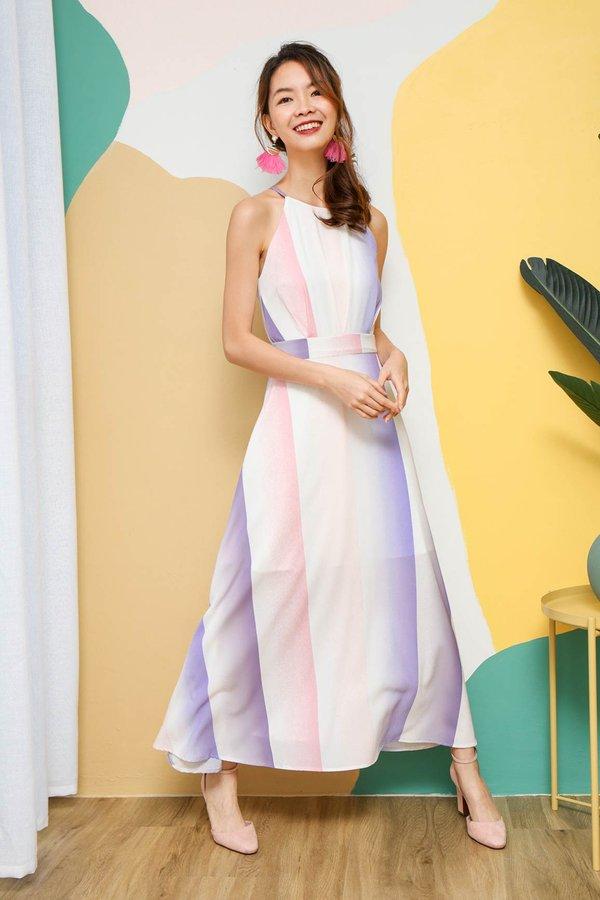 Colour Scenery Stripe Maxi Dress Pink