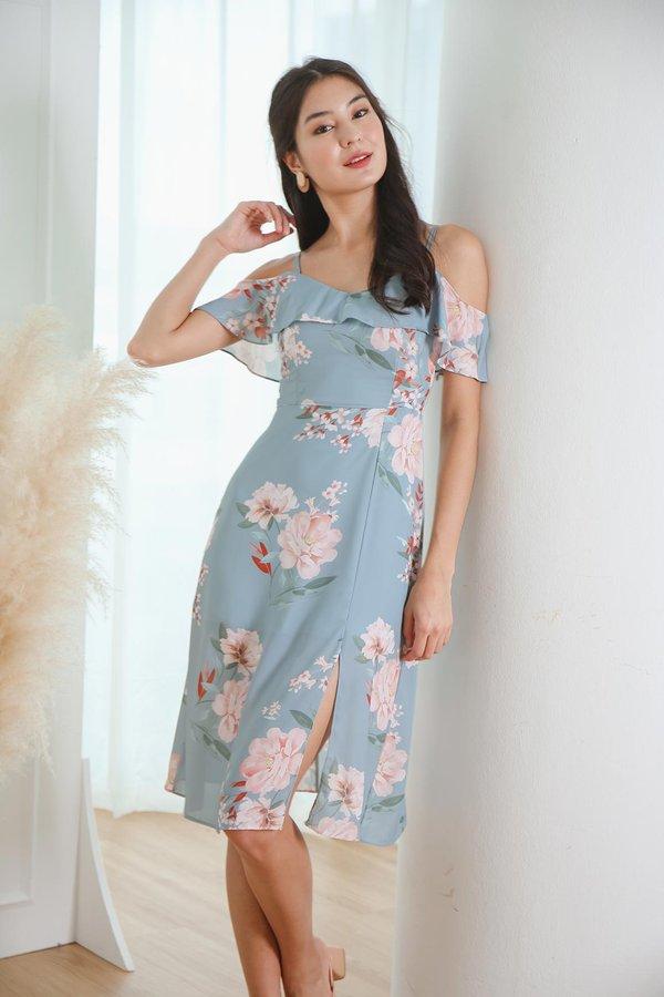 Heirloom Peonies Floral Midi Dress Sky Blue