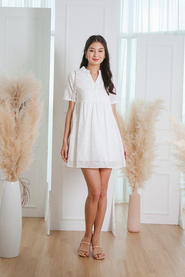 Au Naturale Eyelet Babydoll Shirt Dress White