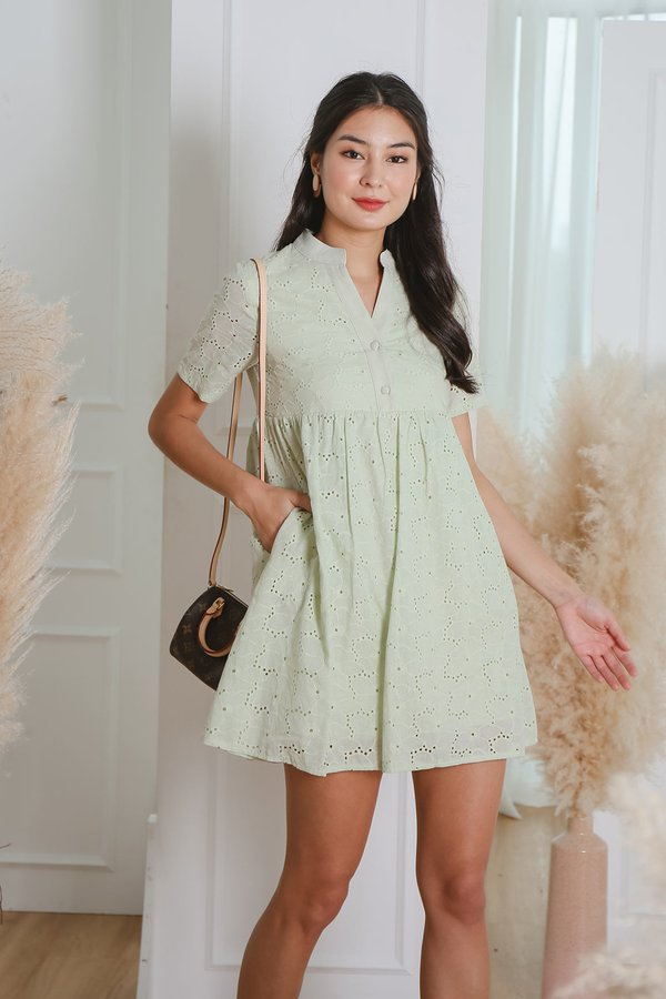 Au Naturale Eyelet Babydoll Shirt Dress Mist Green