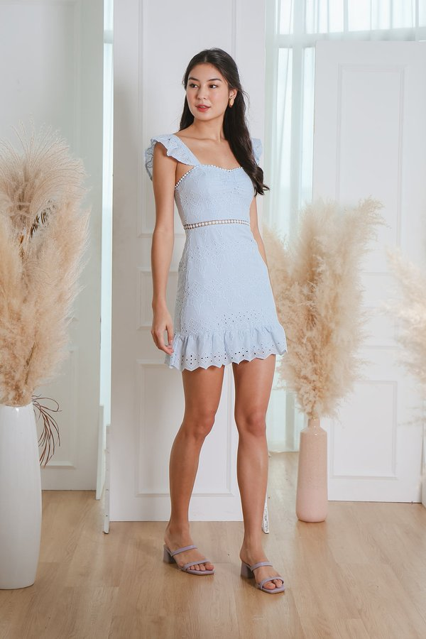 Nature Divine Eyelet Crochet Flutter Dress Pale Blue