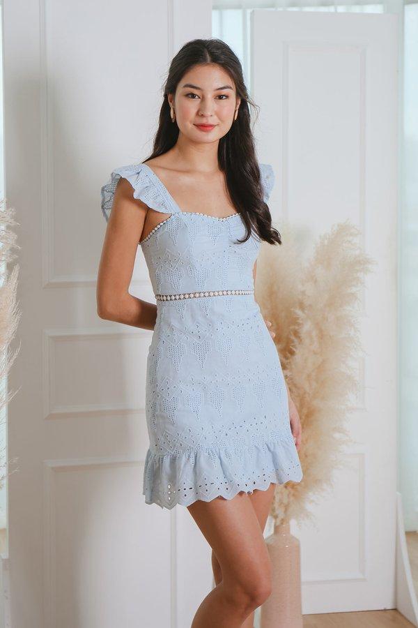 Nature Divine Eyelet Crochet Flutter Dress Pale Blue