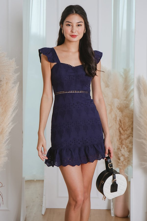 Nature Divine Eyelet Crochet Flutter Dress Navy Blue