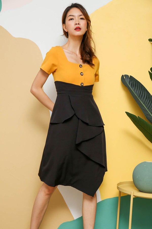 Colour Confidence Ruffle Work Dress Marigold