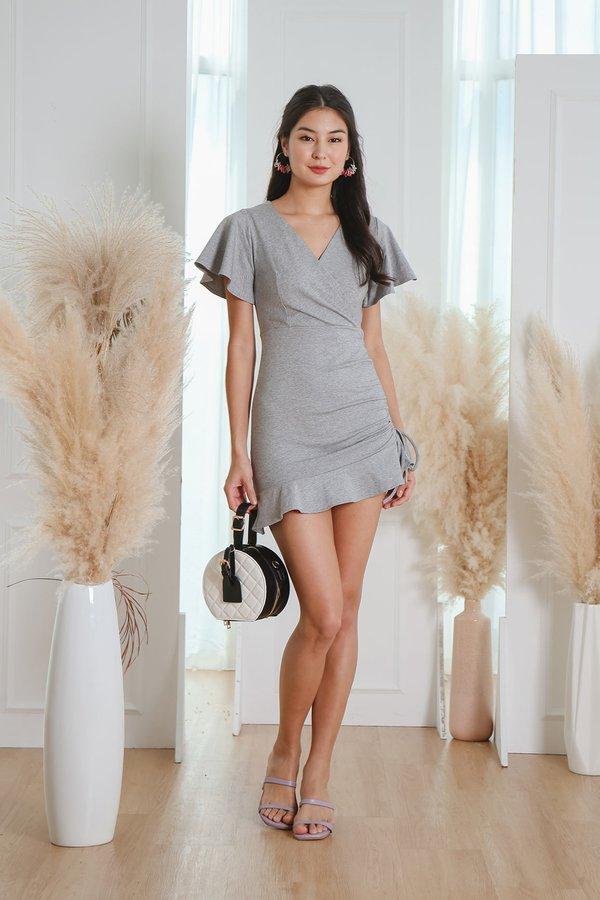 Ruching for Wraps Drawstring Dress Ash Grey