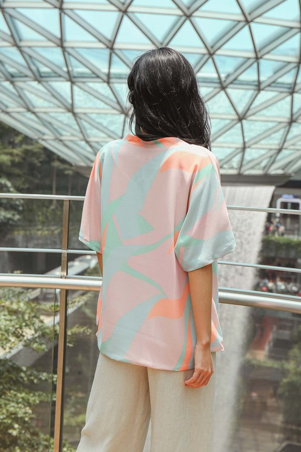Coastal Colours Abstract Kimono Jacket Blush