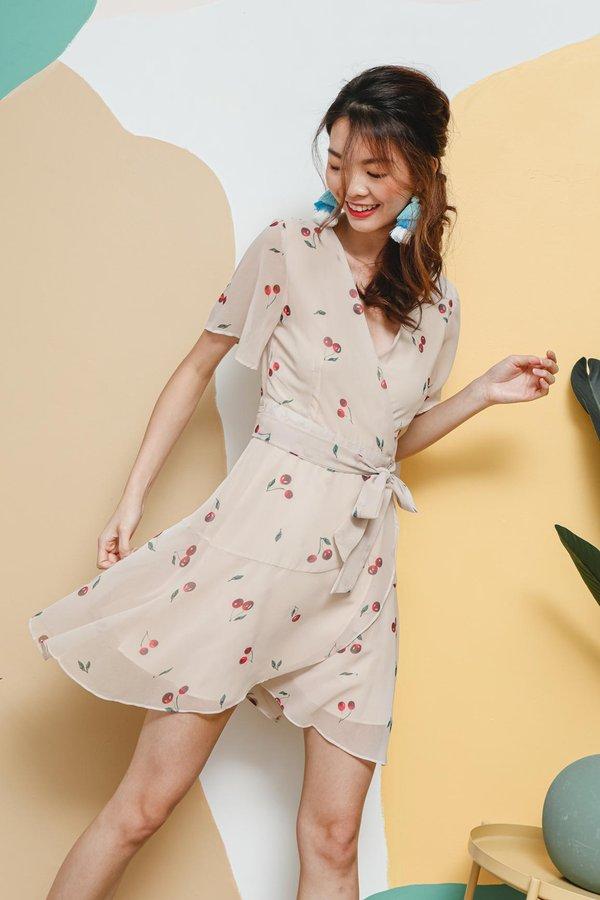 Cherry Cheery Tiers Wrap Dress