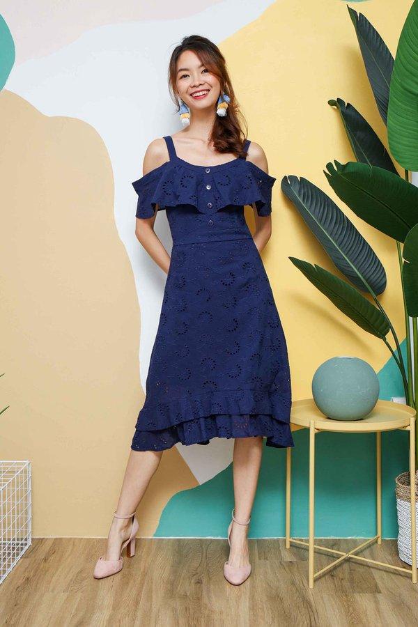 Eyelet Florets Midi Dress Navy Blue