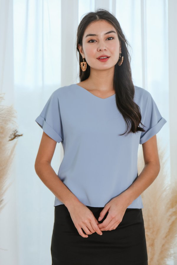 Cleverly Clean Cuffed Tee Blue