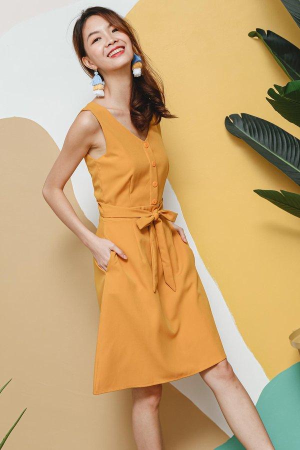 Workaholic Weekender Wrap Around Button Dress Marigold