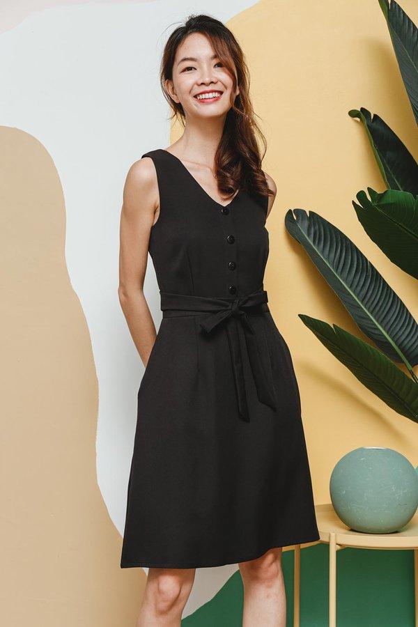 Workaholic Weekender Wrap Around Button Dress Black