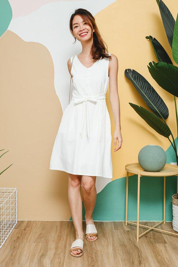 Workaholic Weekender Wrap Around Button Dress White