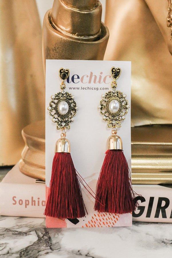 Bejewelled Spectacle Tassel Drop Earrings Burgundy Red