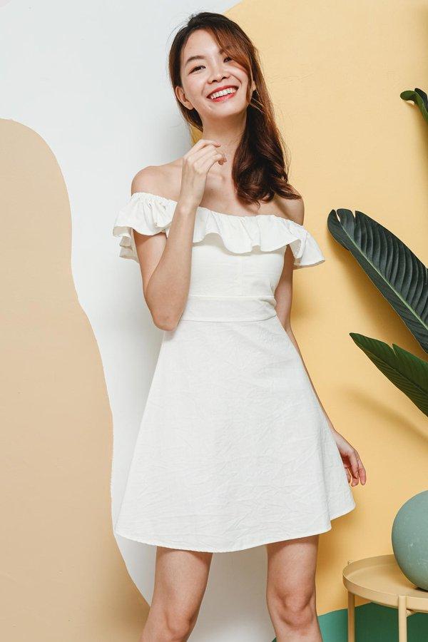 Relax Those Ruffles Linen Offshoulder Dress