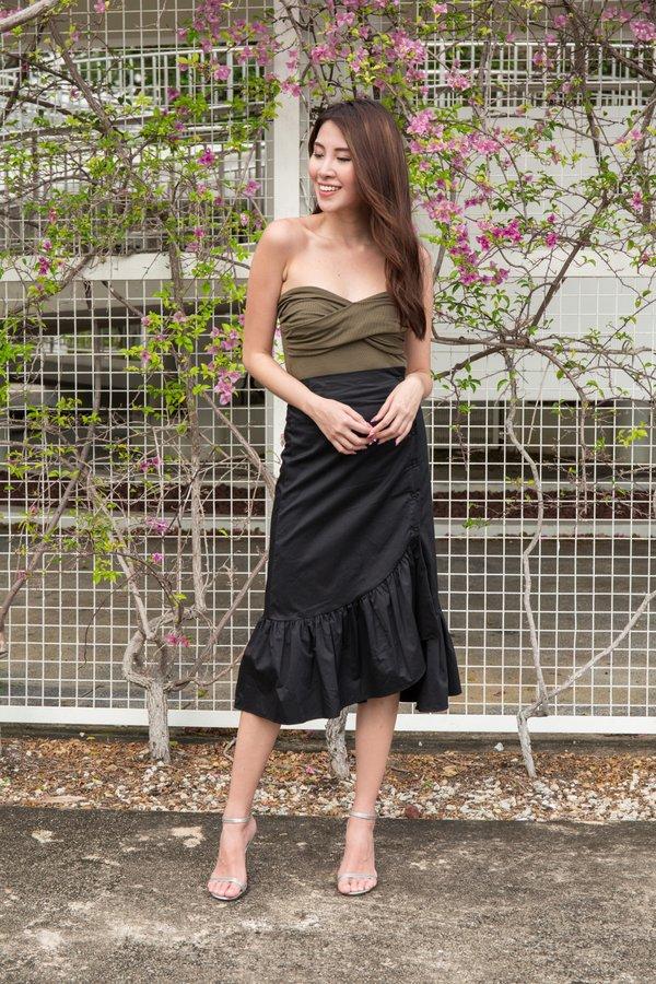 Waterfall Waves Ruffle Midi Skirt Black