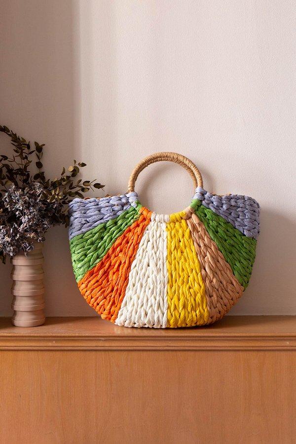 Colour Filled Rainbows Drawstring Rattan Bag Tropical