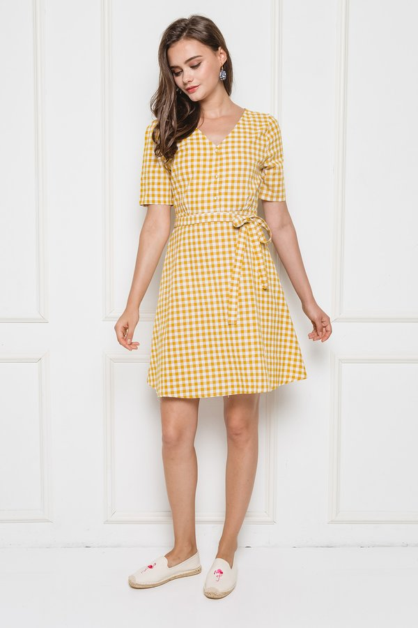 Pattern Fluidity Gingham Dress Yellow