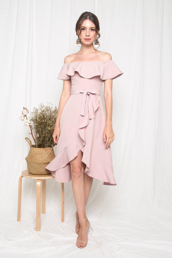 Ritz and Ruffle Midi Dress Pink