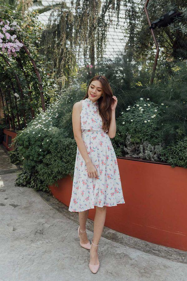 Femme Chinoise Midi Dress White Floral