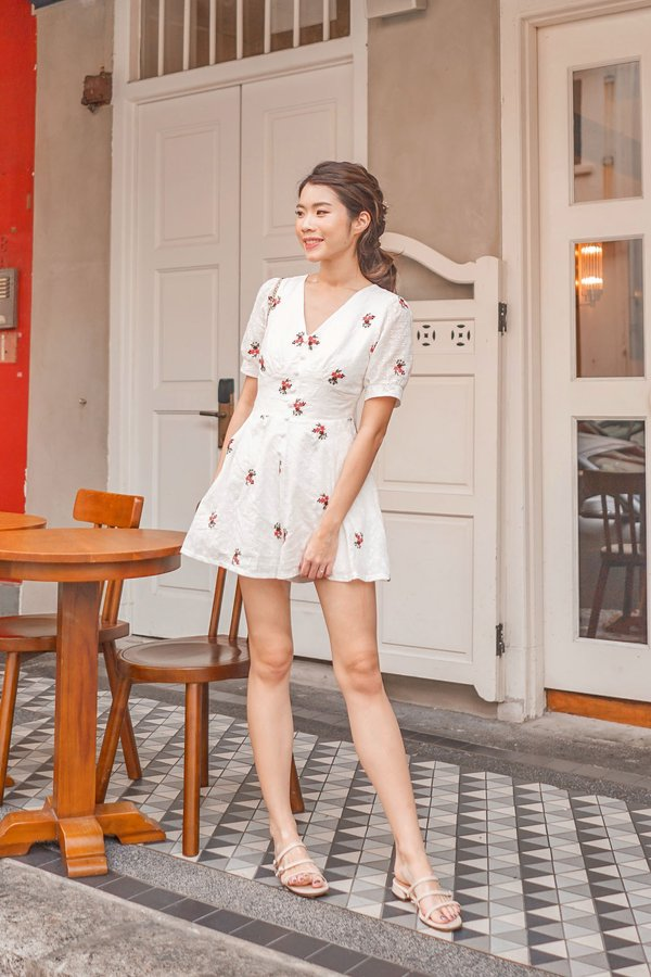 Eyelets Happy Place Button Romper White