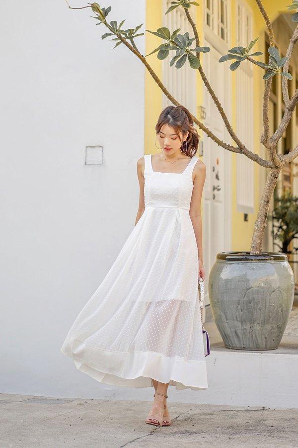 Swiss Dot Aspirations Maxi Dress White