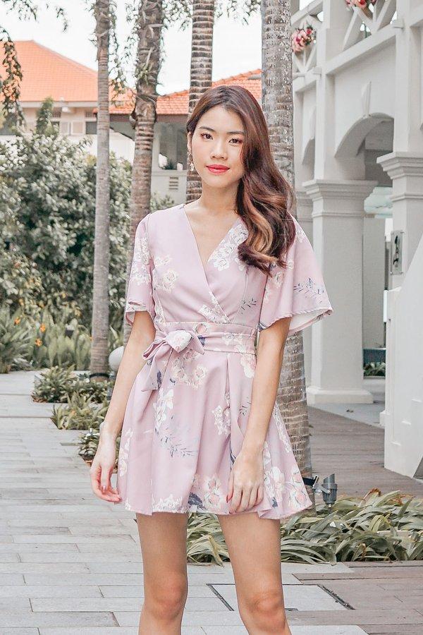 Floral Pageantry Kimono Romper Dress Blush