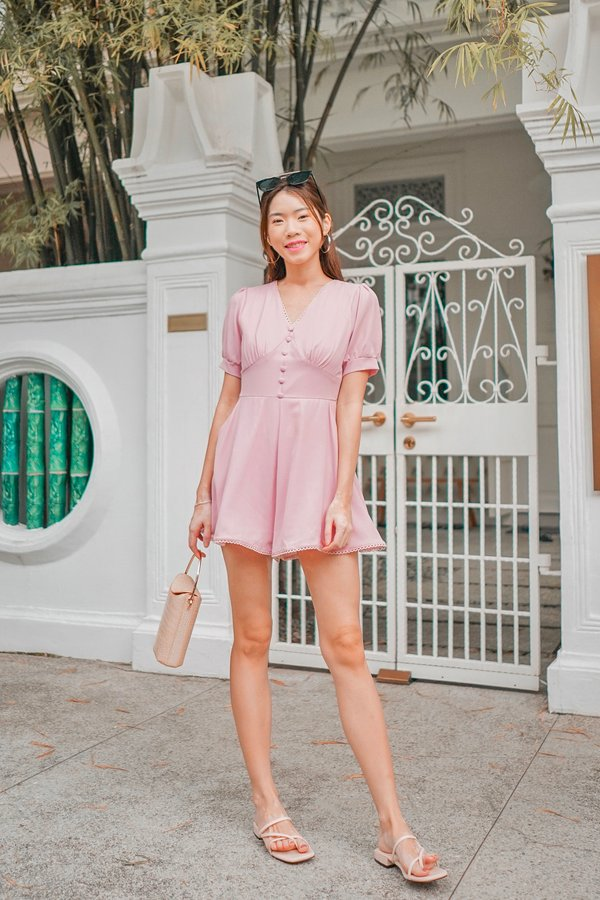 Ebb and Flow Buttons Trim Romper Pink