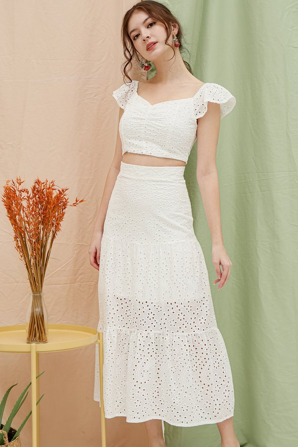 Stay-in Fairytale Eyelet Two Piece Maxi Set White