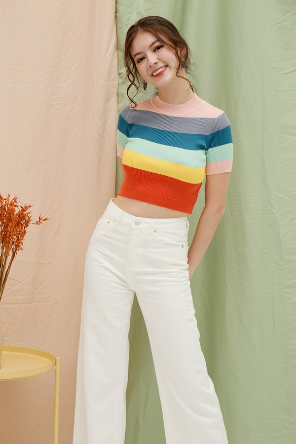 Primary Colours Rainbow Stripe Knit Top Pink