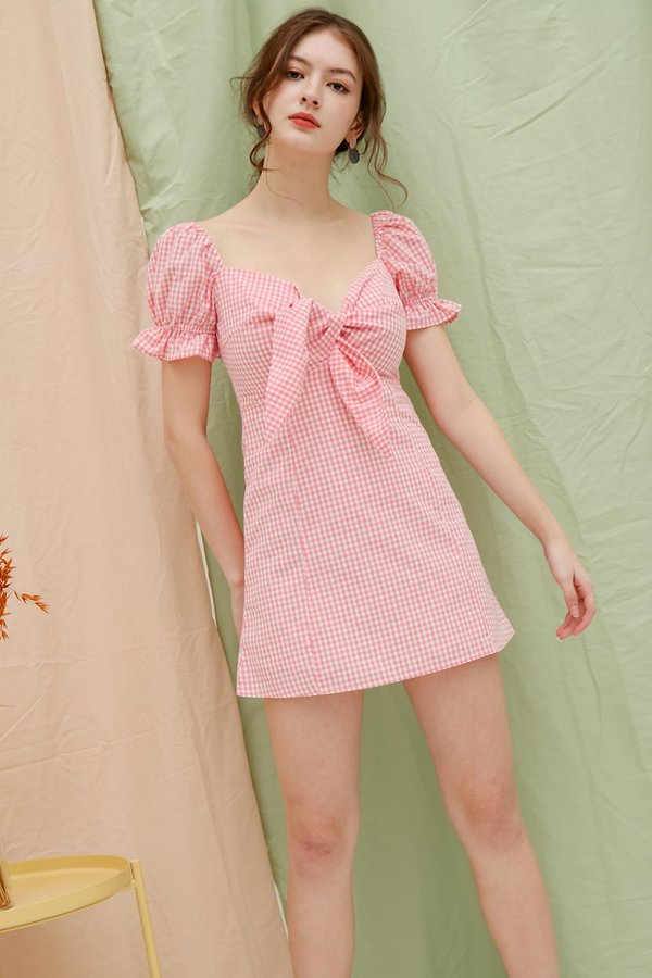 A Gingham Sweetheart Tie Bust Dress Pink