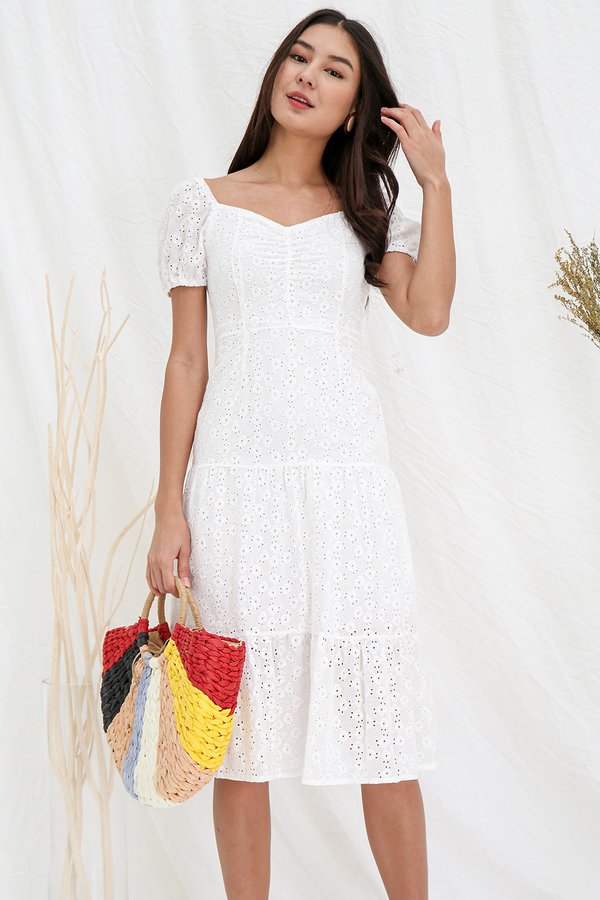 Tier She Comes Ruched Eyelet Midi Dress White